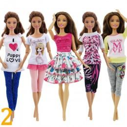 5 sztuk moda odzież na co dzień strój codzienny kamizelka koszula spódnica spodnie sukienka akcesoria do domku dla lalek ubrania