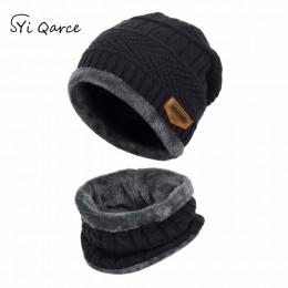 SYi Qarce 2 sztuk dla dzieci zimowe ciepłe dzianiny kapelusz z zestaw szalików Skullies czapki dla w wieku 3-14 lat chłopca dla