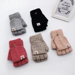 Hot Sale1 para moda dzieci dzieci mężczyźni kobiety zima utrzymać ciepłe słodkie dzianiny cabrio Flip Top rękawiczki bez palców