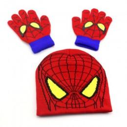 BINGYUANHAOXUAN jesienne zimowe dziewczyny czapka dla chłopców zestaw Cartoon Spider-Man ciepła czapeczka z dzianiny kapelusz rę