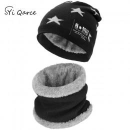 SYi Qarce 2 sztuk dzieci ciepłe zimowe gruba dzianina kapelusz z zestaw szalików Skullies czapki dla 6-12 lat chłopca dziewczyny