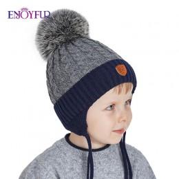 ENJOYFUR czapeczki zimowe dla niemowląt prawdziwe futro z lisa czapka z pomponem dzianiny chłopięca czapka bawełniana chroń uszy