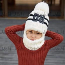 1 sztuk dzieci czapki zimowe dziewczyny chłopcy dzieci szydełka ciepłe czapki szalik śliczne pompon zagęścić dzianiny kapelusz D