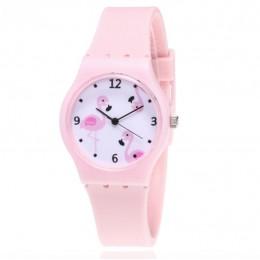 Nowe silikonowe cukierki kolor zegarek studencki dziewczyny zegar moda Flamingo zegarki dzieci zegarek Cartoon dziecięcy zegarek