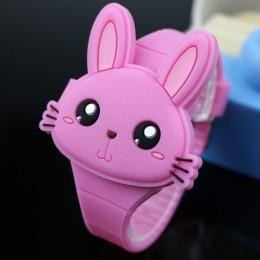 Piękny królik kreskówka dzieci zegarki odwróć gumowy elektroniczny zegarek dla dzieci dla chłopca uczeń dziewczyny zegar Reloj I