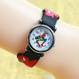3D gumowy pasek Spiderman zegarek dla dzieci dzieci Cartoon sportowy zegarek kwarcowy dla chłopców zegar Montre Enfant reloj inf