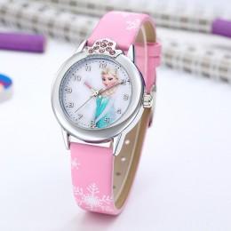 Elsa zegarek dziewczyny Elsa księżniczka zegarki dla dzieci skórzany pasek śliczne dzieci Cartoon zegarki na rękę prezenty dla d