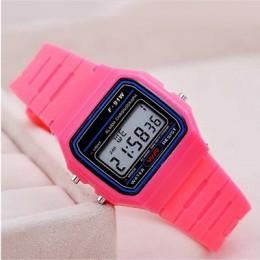 Różowe dzieci cyfrowe zegarki pasek silikonowy chłopcy dziewczęta elektroniczny zegarek chronograf Alarm śliczne studenci zegar