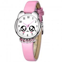 KDM zegarek dziewczęcy dzieci Bling śliczne oczy diamentowy wodoodporny zegarek z paskiem z prawdziwej skóry piękne dziecko dzie