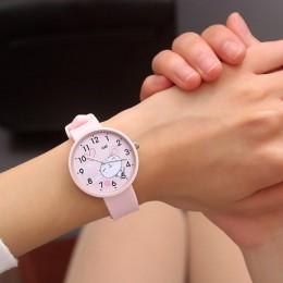 Dziewczyny chłopcy śliczne koci wzór dzieci oglądaj kobiety prosty zegarek kwarcowy na co dzień moda damska zegarki na rękę zega