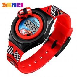 Nowy 2019 SKMEI Cartoon Car zegarek dziecięcy moda cyfrowy elektroniczny zegarek dla dzieci kreatywny Cartoon zegarek studencki