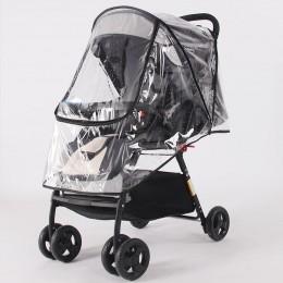 Akcesoria do wózka dziecinnego wodoodporna osłona przeciwdeszczowa przezroczysty wiatr osłona przeciwpyłowa zamek otwarty na wóz