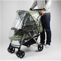 Wózek dziecięcy osłona przeciwdeszczowa PVC uniwersalna osłona przeciwwiatrowa z oknami do wózków spacerowych akcesoria do wózka
