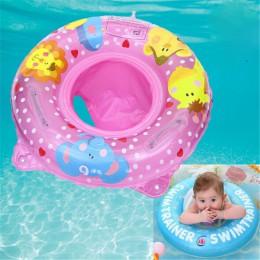 Podwójny uchwyt bezpieczeństwa fotelik dla dziecka Float ponton nadmuchiwane niemowlę dzieci basen pierścienie zabawki wodne pły