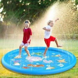 100cm basen dla dzieci nadmuchiwane okrągły wody Splash zagraj w baseny gry zraszacz mata stoczni zabawy na świeżym powietrzu wi