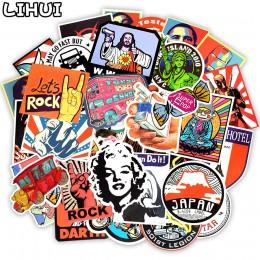 50 sztuk w stylu Retro naklejki Graffiti podróży śmieszne naklejki JDM na naklejka do zrobienia w domu na walizce bagaż Laptop r